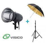 Kit Flash de Estudio Visico VL-400 Plus + Soporte + Paraguas Negro/Dorado