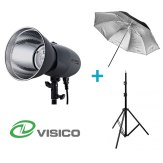 Kit Flash de Estudio Visico VL-400 Plus + Soporte + Paraguas Negro/Plateado