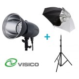 Kit Flash de Estudio Visico VL-400 Plus + Soporte + Paraguas Duo
