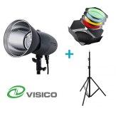 Kit Flash de Estudio Visico VL-400 Plus + Soporte + Viseras con filtros y nido de abeja