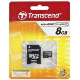 Memoria Transcend MicroSDHC 8GB Class 4 / incl. adaptador