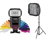 Flash Gloxy GX-F1000 TTL HSS + Softbox Grid y Soporte para Canon EOS 70D