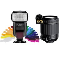 Flash Gloxy GX-F1000 TTL HSS + Objetivo Tamron 18-200mm para Canon EOS 70D