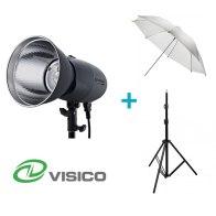 Kit Flash de Estudio Visico VL-400 Plus + Soporte + Paraguas Traslúcido