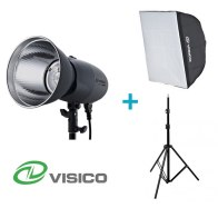 Kit Flash de Estudio Visico VL-400 Plus + Soporte + Softbox 50x70cm