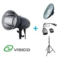 Kit Flash de Estudio Visico VL-400 Plus + Soporte + Beauty Dish + Disparador VC-816