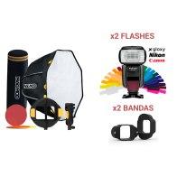 Kit MagMod MagBox 24 Octa Pro + 2 Flashes Gloxy GX-F1000 TTL HSS para Nikon D200