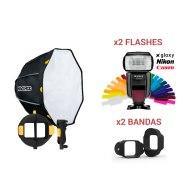 Kit MagMod MagBox 24 Octa Starter + 2 Flashes Gloxy GX-F1000 TTL HSS para Nikon D200