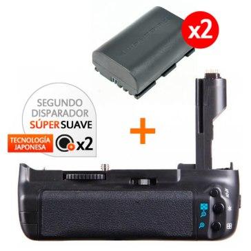 Kit de Empuñadura Gloxy GX-E7 + 2 Baterías LP-E6