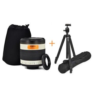 Kit Gloxy 500mm f/6.3 teleobjetivo Olympus 4/3 + Trípode GX-T6662A