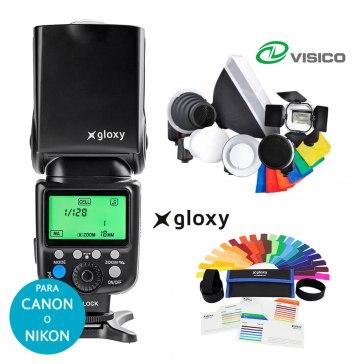 Kit Flash Gloxy GX-F990 + 7 Accesorios Strobist para Nikon D200