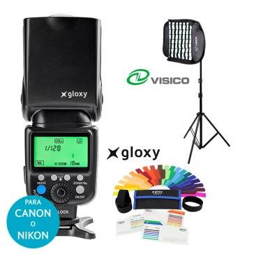 Kit Flash Gloxy GX-F990 con Softbox Grid y Soporte para Canon EOS 70D
