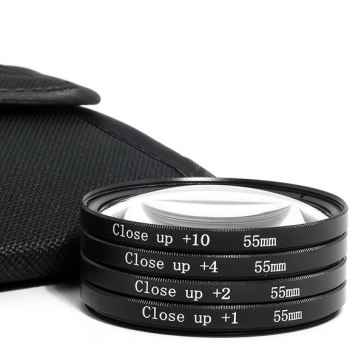Kit de 4 filtros Close-Up (+1 +2 +4 +10) 55mm