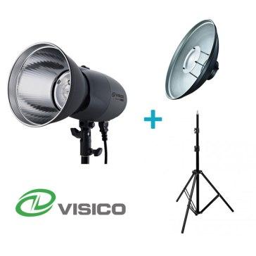 Kit Flash de Estudio Visico VL-400 Plus + Soporte + Beauty Dish