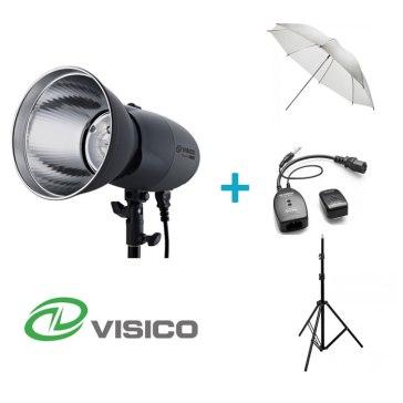 Kit Flash de Estudio Visico VL-400 Plus + Soporte + Paraguas Traslúcido + Disparador VC-816