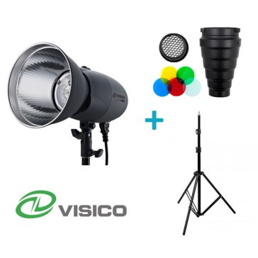 Kit Flash de Estudio Visico VL-400 Plus + Trípode + Snoot con filtros y nido de abeja