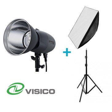 Kit Flash de Estudio Visico VL-400 Plus + Soporte + Softbox 80x120cm