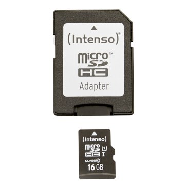 Memoria microSDHC Intenso 16GB Clase 10 + Adaptador
